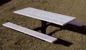 """4' Surface Mounted Square Tubing Single Pedestal Picnic Table With 2"""" x 10"""" x 4' Gray Recycled Plastic Planks"""