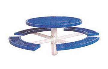 "48"" Single Pedestal Inground Round Picnic Table With Vinyl Clad Expanded Steel Top and 4 Seats"