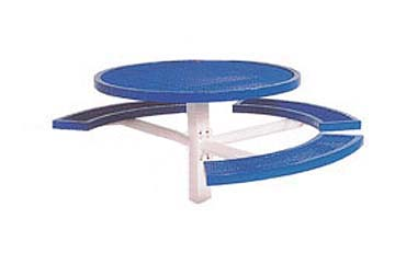 """46"""" Single Pedestal Inground Round Picnic Table With Vinyl Clad Expanded Steel Top and 3 Seats"""