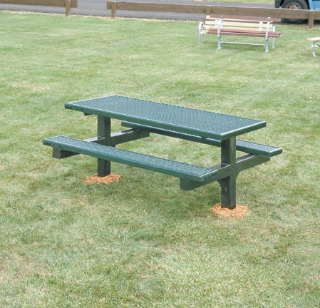 8' Single Sided Wheelchair Accessible Square Tubing Dual Pedestal Picnic Table With Top of Untreated Pine Planks