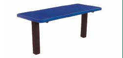 """8' Square Tubing Inground Multi-Pedestal Utility Table With 2"""" x 30"""" x 8' Pressure Treated Planks"""