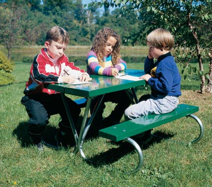 Galvanized Pre-School Picnic Table with Green Top and Red Polyethylene Seat
