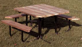 """48"""" Three Seat Wheelchair Accessible Square Picnic Table With Top of Pressure Treated Pine Planks"""