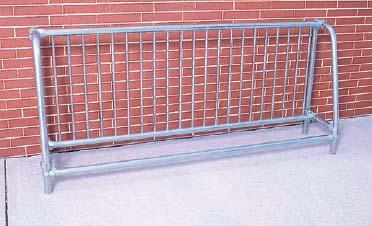 8' Long Surface Mounted Traditional Single Sided Bike Rack - Powder Coated Frame