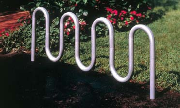 "5 Loop 5' - 3"" Long Surface Mounted Contemporary Double Sided Bike Rack - Powder Coated Frame"