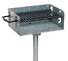 "Pedestal Rotating Grill with Galvanized Firebox and 3 1/2"" O.D. Post (280 Square Cooking Inches)"