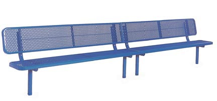 15' Deluxe Thermoplastic Inground Players Bench with 4 Legs and a Back
