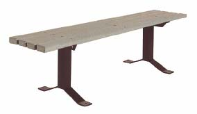 """6' Surface Mounted Flat Slat Park Bench with 2"""" x 4"""" x 6' Gray Recycled Plastic Planks"""