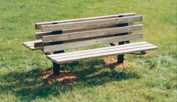 """8' Permanent Double Sided Double Pedestal Bench with 2"""" x 4"""" x 8' Untreated Pine Planks"""