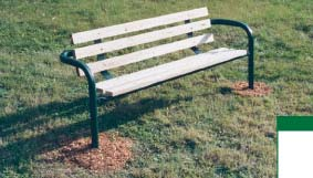 "8' Double Pedestal Park Bench with 6 Slat Frame and 2"" x 4"" x 8' Recycled Plastic Planks"