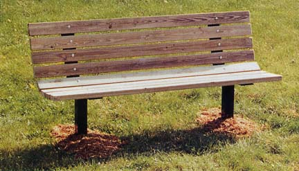 "8' Inground Single Sided Park Bench with 2"" x 4"" x 8' Redwood Stained Pine Planks"
