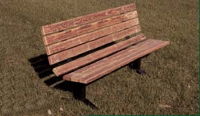 "6' Surface Mounted Single Sided Park Bench with 2"" x 4"" x 6' Untreated Pine Planks"