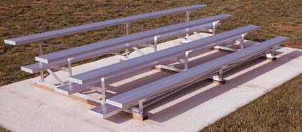 27' Galvanized 4 Row Low Rise Bleachers with Rubber Feet with Double Footboards