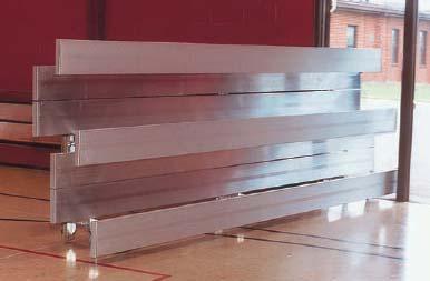 15' Tip N' Roll Aluminum Indoor/Outdoor 3 Row Bleachers with Double Footboards