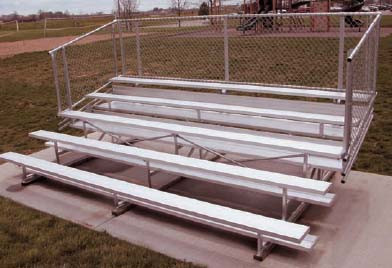 15' Portable Stadium Aluminum 5 Row Bleachers with Chain Link Guard Rails