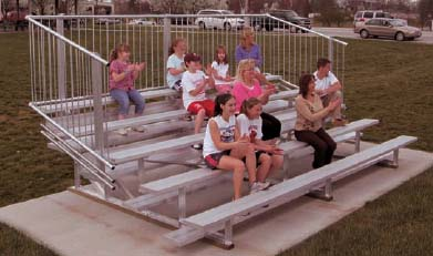 15' Portable Stadium Aluminum 4 Row Bleachers with Guard Rails