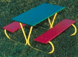 Powder Coated Frame Pre-School Picnic Table with Green Top and Red Polyethylene Seat