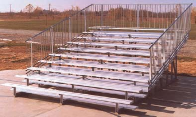 9' Portable Stadium Galvanized 4 Row Bleachers with Guard Rails