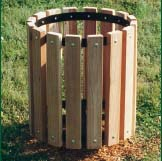 """32 Gallon Trash Receptacle with 2"""" x 4"""" Slat Untreated Pine Planks"""