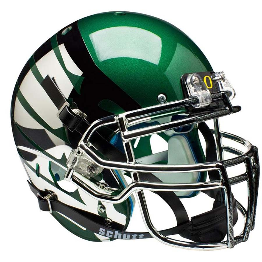 Schutt NCAA Oregon Ducks ALTERNATE GREEN LIQUID METAL with Wings Full Size AiR XP Authentic Football Helmet