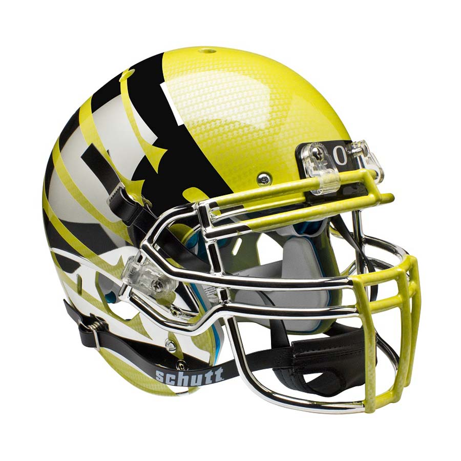 Schutt NCAA Oregon Ducks ALTERNATE YELLOW LIQUID METAL with Wings Full Size AiR XP Authentic Football Helmet