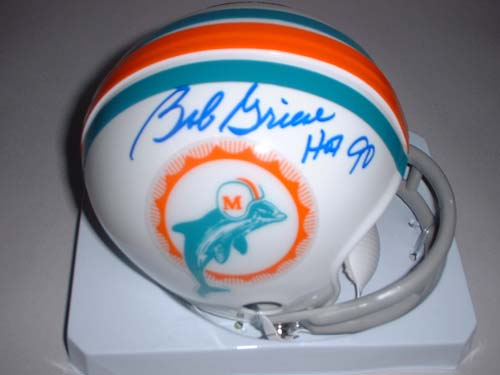 """Bob Griese Autographed Miami Dolphins Riddell Mini Helmet with """"HOF 90"""" Inscription"""