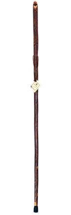 """54"""" Hickory Walking Stick with Carved Whistle"""