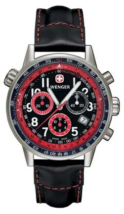 Commando SR Men's Watch with Black Dial, Red and Black Sub-Dials and Black Leather Straps by Wenger� - Maker of the Genuine Swiss Army Knife