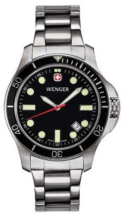 Battalion III Diver Men's Watch with Black Dial, Black Bezel and Stainless Steel Bracelet by Wenger� - Maker of the Genuine Swiss Army Knife