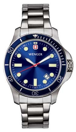 Battalion III Diver Men's Watch with Blue Dial, Blue Bezel and Stainless Steel Bracelet by Wenger� - Maker of the Genuine Swiss Army Knife