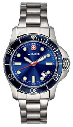 Battalion III Diver Ladies Watch with Blue Dial, Blue Bezel and Stainless Steel Bracelet by Wenger� - Maker of the Genuine Swiss Army Knife