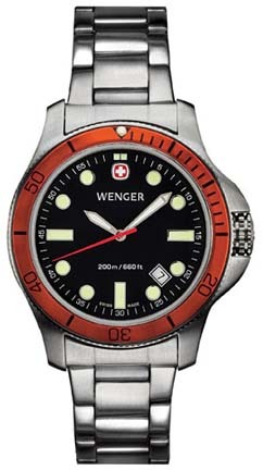 Battalion III Diver Men's Watch with Black Dial, Orange Bezel and Stainless Steel Bracelet by Wenger� - Maker of the Genuine Swiss Army Knife