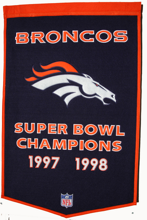 "Denver Broncos 24"" x 36"" NFL Dynasty Banner from Winning Streak Sports"