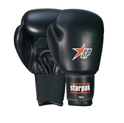 Economy Black Leather Boxing Gloves from Starpak - 1 Pair